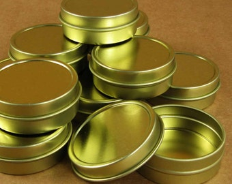 1  Oz. Gold Round Metal Tins - Set of 12 Containers / Perfect for Gift Wrapping, Packaging & Favors