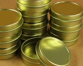 1  Oz. Gold Round Metal Tins - Set of 24 Containers / Great for Gift Wrapping, Packaging & Favors