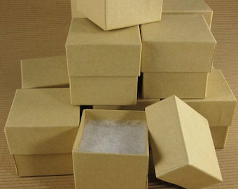 Square Kraft Chipboard Jewelry Gift Boxes - Set of 24  / 2 x 2 x 2 Inch / Perfect for Gift Wrapping, Packaging & Favors