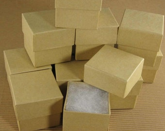 Square Kraft Chipboard Jewelry Gift Boxes - Set of 48  / 2 x 2 x 2 Inch  / perfect for wedding favors