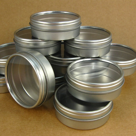 2 Oz. Round Metal Window Tins - Set of 12 Containers / Great for Gift Wrapping, Packaging & Favors