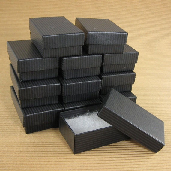 Medium Black Striped Chipboard Jewelry Gift Boxes - Set of 24  / 2 1/2 x 1-1/2 x 7/8 Inch / Perfect for Gift Wrapping, Packaging & Favors