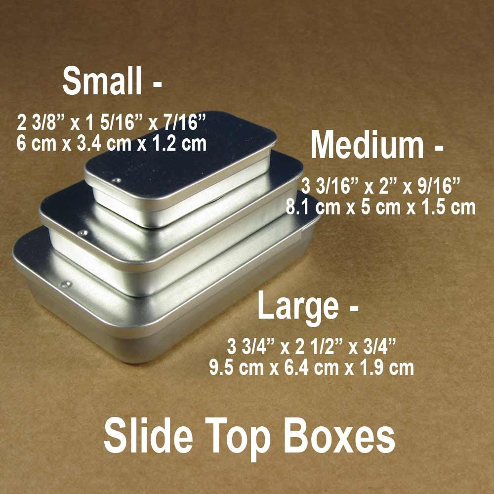 Medium Silver Slide Top Metal Tin Boxes Set Of 6 Containers