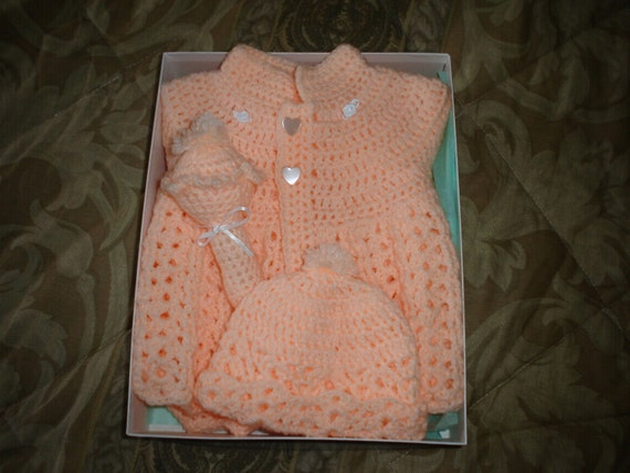 0-3months girls peach 4pc crochet sweater set