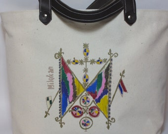 Canvas tote bag handpainted with Milokan Veve