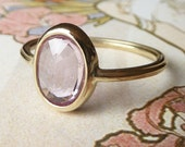 Pink Rose Cut Oval Sapphire Ring