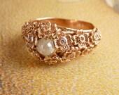 Rose Gold Diamond Floral Ring