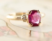 Raspberry Red Sapphire and Diamond Ring