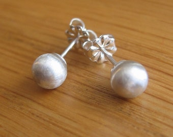 Sterling Silver Satin Studs - 5mm