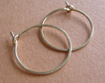 Hammered Hoops - Sterling Silver 1""