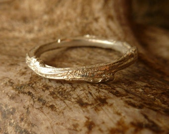 Textured Twig Band - Silver