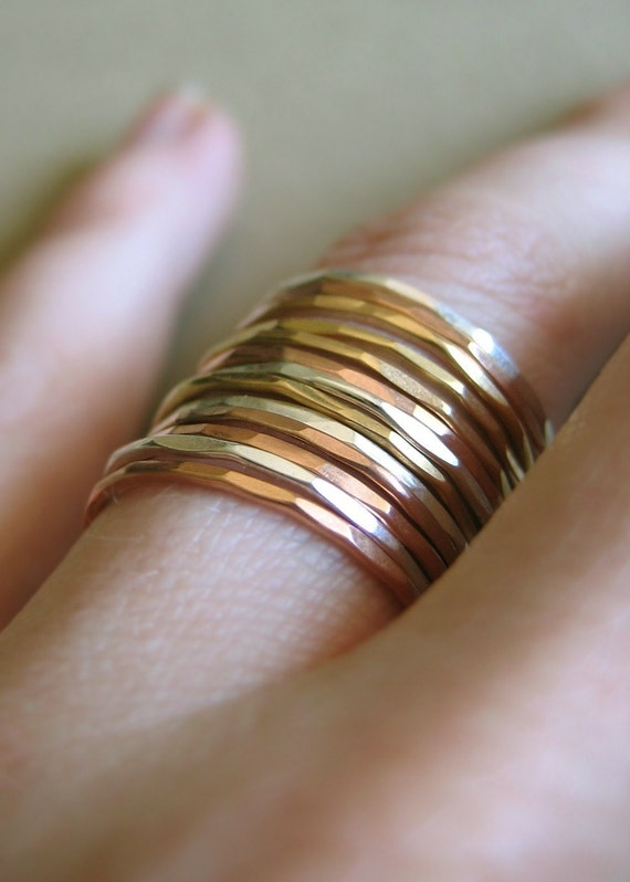 Slim Stacking Rings - Mixed Metals, Set of 9