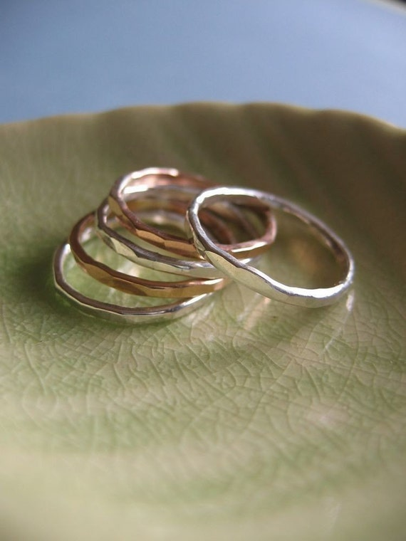Gold and Silver Organic Stacking Rings