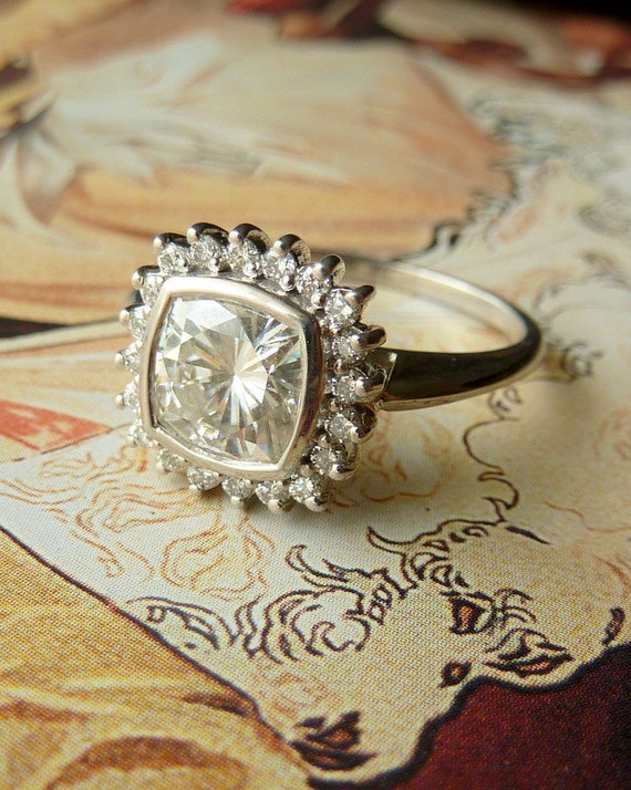 Antique Square Moissanite and Diamond Halo Ring