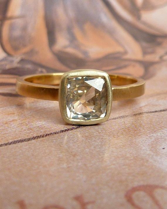 Grey Cushion Rose Cut Sapphire Ring