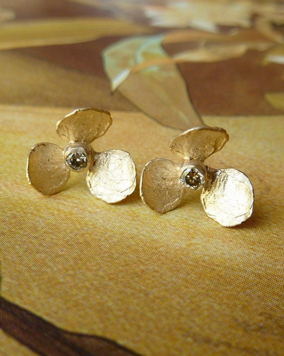 Orchid Bloom Studs with White Sapphires - Custom for stacylbertsch