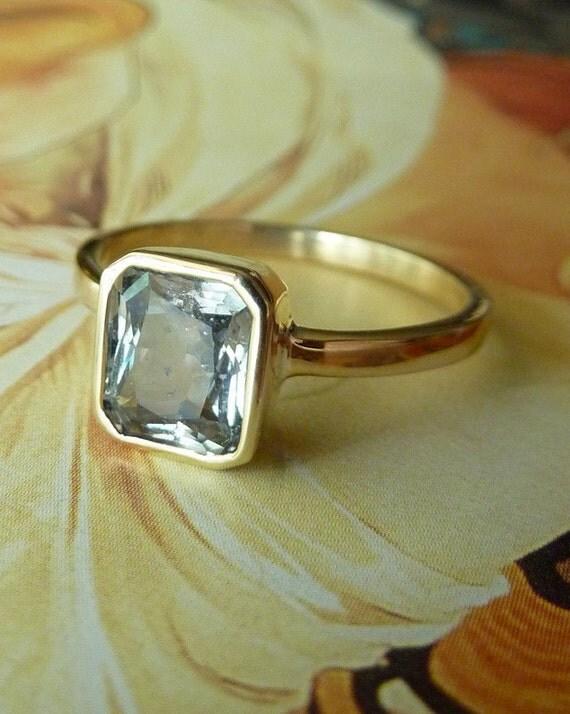 Emerald Scissor Cut Sapphire Ring