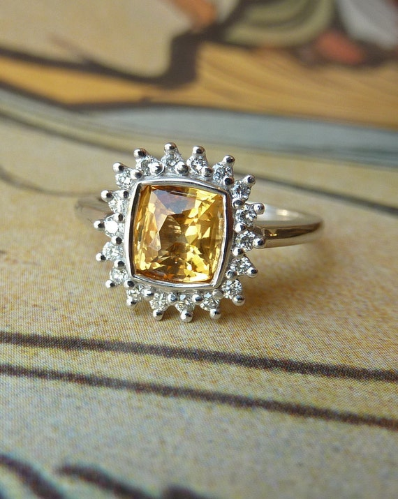 Yellow Sapphire Cushion and Diamond Halo Ring - Custom for Lindsey213, final payment