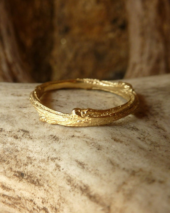 Textured Twig Band - 14k Gold