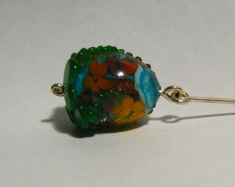 Encased Floral Lampworked Glass Pendant