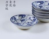 china blue brush-painting - 3 inch dish