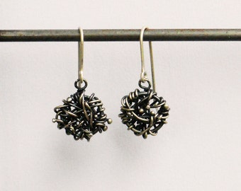 Static Drops- Oxidized Sterling
