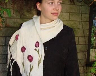 White scarf.  Hand felted. OOAK . Purple flowers.  Eco friendly scarf. Made in Australia. Merino wool.