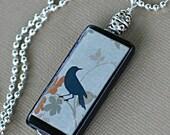 Reversible Crow Necklace - Ebony Bamboo Tile