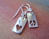 LOVE AND PEACE - Sterling Silver Earrings