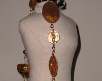 Warm Honey and Caramel Beaded Necklace