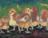 Baby Chickens, Farm Animals, Babies, Feathers, Giclee Print, 8 x 10, Earth tones