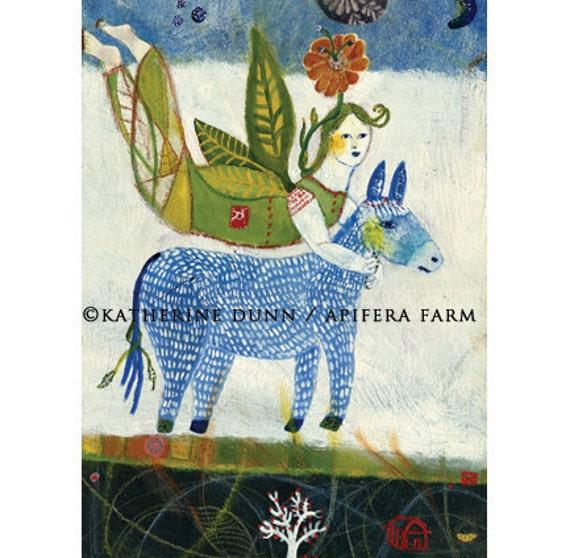 3 Art Cards, Floating with Donkey