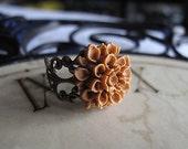 Caramel Filigree Chrysanthemum Adjustable Ring