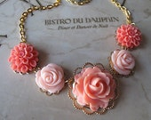 Coral Flower Necklace, Bridesmaid Jewelry, Vintage Inspired Wedding