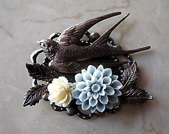 Bird Brooch Antique Brass,  Swallow, Ivory and Blue Flowers, Grandmother Gift
