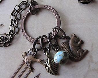 Charm Necklace, Bird, Squirrel, Leaf, Antique Brass Necklace