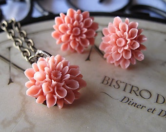 Bridesmaid Jewelry Set, 75 Colors, Flower Jewelry, Bridal Gifts, Vintage Inspired Wedding