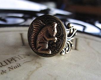 Squirrel Locket Ring, Antique Brass, Filigree Adjustable Ring,  Keepsake Bridesmaid Gift