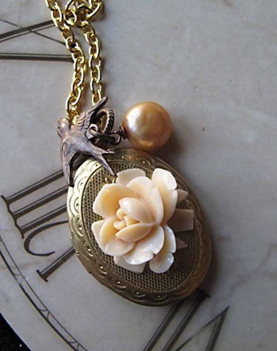 Locket,  Ivory Rose Swallow,  Apricot Fresh Water Pearl,  Gold Tone Necklace, Keepsake, Bridesmaid Jewelry Gift