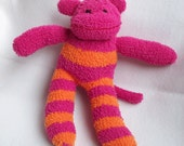 Sophie the Softest Sock Monkey Hot Pink and Orange Ready to Ship