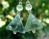 SS Moss Agate Triangle Beaded Earrings