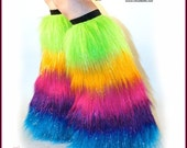 Rainbow Fluffies Long Pile Fur Leg Warmers Glitter Rave Furry Boot Covers