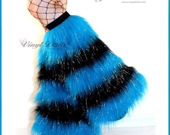 Glitter Fluffies Furry Leg Warmers 5 Tone UV Neon Blue Black