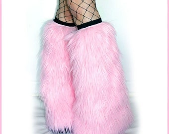 Light Baby Pink fluffies Furry Boot Covers Rave Fur Leg Warmers, fur Leggings, Boot Sleeves, Rave Wear