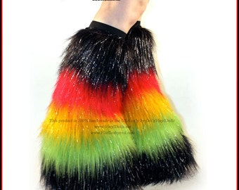 Furry Leg Warmers Rasta Fluffies Go Go Fuzzy Boots Covers Rave