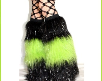 Black and Lime Green Fluffies - Sparkle Fur