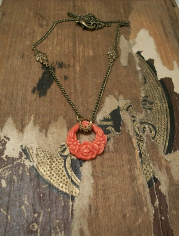 Vintage Inspired Glass Pendant Necklace