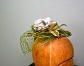 R E S E R V E D . vintage . VELVET ROSE . moss . green . netted . hat