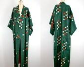 vintage . silk . kimono . EMERALD . green . robe