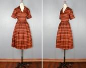 vintage . silk . dress . INDIAN SUMMER . 1950s . swing . skirt